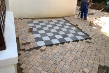 Garden Paving - Chess Board Pattern