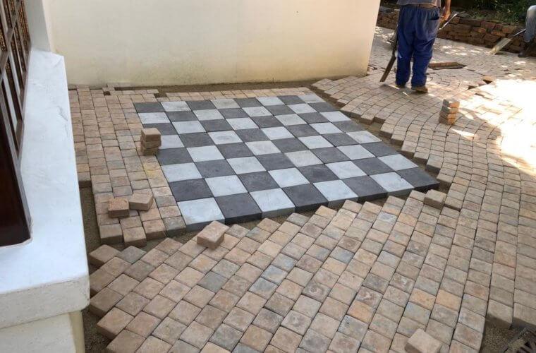 Garden Paving - Chess Board Pattern